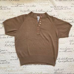 Vintage Beige Mock Neck Sweater Top